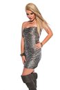Blonde petite young in a strapless silver lame dress Royalty Free Stock Photos