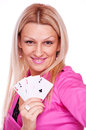 Blonde with poker of aces Stock Photo