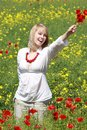 Blonde with red flower Stock Image
