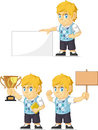 Blonde rich boy customizable mascot a vector set of a in several poses drawn in cartoon style this vector is very good for design Stock Photos