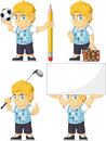 Blonde rich boy customizable mascot a vector set of a in several poses drawn in cartoon style this vector is very good for design Royalty Free Stock Photo
