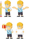 Blonde rich boy customizable mascot a vector set of a in several poses drawn in cartoon style this vector is very good for design Stock Photo