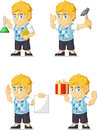 Blonde rich boy customizable mascot a vector set of a in several poses drawn in cartoon style this vector is very good for design Stock Images