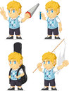 Blonde rich boy customizable mascot a vector set of a in several poses drawn in cartoon style this vector is very good for design Royalty Free Stock Photos