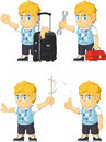 Blonde rich boy customizable mascot a vector set of a in several poses drawn in cartoon style this vector is very good for design Royalty Free Stock Image