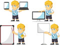 Blonde rich boy customizable mascot a vector set of a in several poses drawn in cartoon style this vector is very good for design Stock Photography