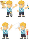 Blonde rich boy customizable mascot a vector set of a in several poses drawn in cartoon style this vector is very good for design Royalty Free Stock Photography