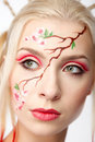 Blonde in the Sakura image Stock Photography