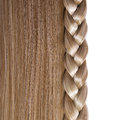 Blonde straight hair and braid or plait isolated on white care salon Royalty Free Stock Photo