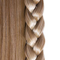 Blonde straight hair and braid or plait isolated on white care salon Royalty Free Stock Image