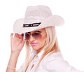 Blonde with sunglasses and hat Royalty Free Stock Photos