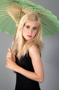 Blonde Teenager Holding Umbrella Stock Photos
