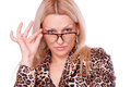 Blonde with tiger jacket and sunglasses Royalty Free Stock Photo