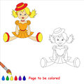 Blonde toy doll in orange dress and red hat. Royalty Free Stock Photo