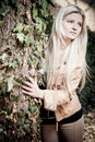 Blonde with Tree Stock Images