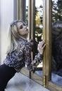 Blonde Woman In Animal Print S...