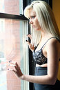 Blonde Woman in Brassiere Royalty Free Stock Photo
