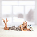 Blonde woman with calendar Royalty Free Stock Photo