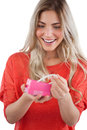 Blonde woman discovering necklace in a gift box pearl Stock Photography