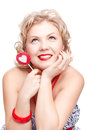 Blonde woman with lollipop Stock Photography