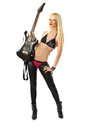 Blonde woman in posing with electric guitar Royalty Free Stock Image