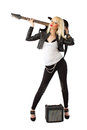 Blonde woman in posing with electric guitar Royalty Free Stock Photo