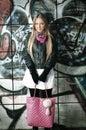 Blonde woman posing of grafitti Royalty Free Stock Photo