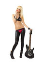 Blonde woman in red thong with electric guitar Royalty Free Stock Photo