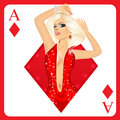 Blonde woman representing ace of diamonds card from poker game Royalty Free Stock Photo