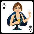 Blonde woman representing ace of spades card from poker game