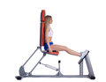 Blonde woman sitting  on isodynamic exerciser Stock Photos
