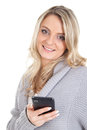 Blonde woman with smartphone picture of a smiling a Stock Photo