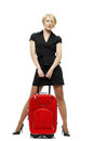 Blonde woman with suitcase business trip isolated Stock Photography