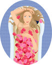 Blonde woman taking a bath with rose petals Royalty Free Stock Photo