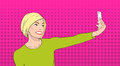 Blonde Woman Taking Selfie Photo On Smart Phone Girl Smile Pop Art Colorful Retro Style