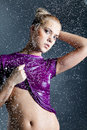 Blonde woman with water droplets Stock Photography