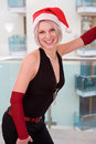 Blonde women with santa hat Royalty Free Stock Images