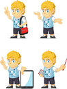 Blonder rich boy customizable mascot Stockbild
