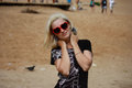 Blondie on the beach beauty girl Royalty Free Stock Image