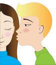 Blondie boy and brunette girl kissing Royalty Free Stock Photos