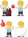 Blondin rich boy customizable mascot Arkivbild