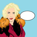 Blondy woman in furs. A woman explaining something.