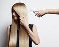 Blondy woman have a haircut