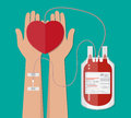 Blood bag and hand of donor with heart. donation