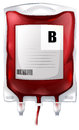 A blood bag with type b blood illustration of on white background Royalty Free Stock Images