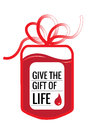 Blood donation a bag with tube shaped as a gift bow and the slogan give the gift of live eps vector format Stock Photos