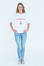 Blood donor standing hands in pocket on white background Stock Photos