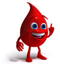 Blood drop 3d character Royalty Free Stock Images
