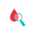 Blood drop test with magnifier solid icon