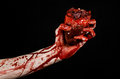 Blood and Halloween theme: terrible bloody hand hold torn bleeding human heart isolated on black background in studio